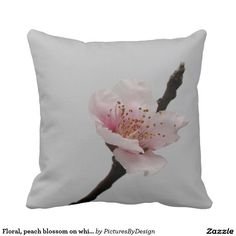 Floral, peach blossom on white throw pillow