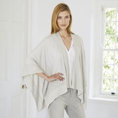 Linen Rib Detail Poncho Wrap - Silver Grey  from The White Company