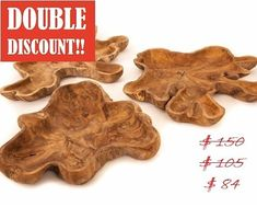 Whoa!! Daily Double Discount feature: Teak Root Platter - XS - best gift ever! Discounted from $150 to $105, and double down to $84! Send DM now. Buy by DM, phone, online or in person. Book for you & your loved ones. #endofseason #sale #deepdiscounts #doublediscount #greatdeals #teak #interiordesign #furniture #sustainableliving #bowls #fruitbowls #sandbowls #organic #zenporium #guiltfreewood Guilt Free, Sustainable Living, Platter, Great Deals, Sale Items, Teak, Bowls, Best Gifts, Organic