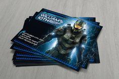 Halo Birthday Party Invitation 4 x 6 Custom by MapleSyrupDesign