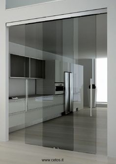Frameless:Available in a framed, frameless or solid aesthetic, these elegant sliding glass doors are installed with visible or hidden tracks to add a minimalist design appeal. With a myriad of hardware, frame and mounting options, CARVART sliding doo Sliding Barn Door Hardware, Sliding Glass Door, Sliding Doors, Glass Doors, Door Hinges, Door Design, House Design, Door Dividers, Front Doors With Windows