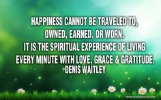 Happiness cannot be traveled to, owned, earned, or worn. It is the spiritual experience of living every minute with love, grace & gratitude. Denis Waitley