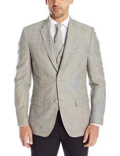 Perry Ellis Men's Slim Fit Linen Cotton End-On-End Suit Jacket at Amazon Men's Clothing store: