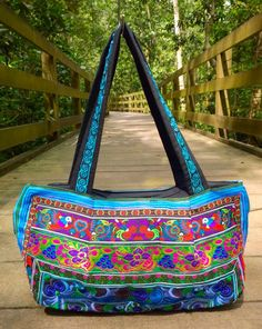 *SALE ITEM   An Ethnic Boho Style Handbag Handmade with Traditional Hmong Fabric. This bag exhibits brilliant colours with bold embroidered patterns of