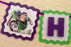 Buzz lighter birthday banner, toy story birthday banner on Etsy, $22.00