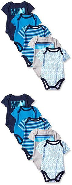 Nautica Baby-Boys Newborn 5 Pack J Class Bodysuit, Assorted, 3-6 Months