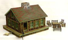 1930's Adirondack log cabin model with selection of miniature Adirondack furniture