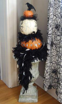 Mega-Glam Pumpkin Topiary - L.O.V.E. the feathers and bling!!