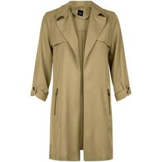 New Look Teens Khaki Zip Pocket Trench Coat ($16) ❤ liked on Polyvore featuring outerwear, coats, khaki, trench coats, beige trench coat, khaki trench coat, lapel coat and zip coat