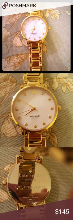 Kate Spade Gramercy bracelet watch- gold Beautiful gold plated bracelet watch. Mother of pearl face with signature spade detail. Never worn! Still has the protective plastic on the face! No scratches on links, very minor scratch on back plate (shown in picture 3). Authentic kate spade! kate spade Accessories Watches