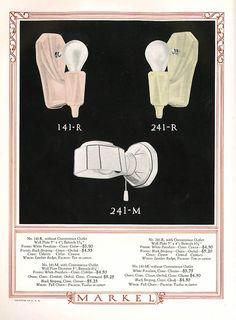 1931 Markel porcelain sconces. The history of porcelain light fixtures — Art Deco classics for 1920s, 1930s & 1940s… Classic Lighting, Vintage Lighting, Bathroom Light Shades, Rustic Pendant Lighting Kitchen, 1920s Home Decor, Lighting Logo, Retro Renovation, Art Deco Lamps, Modern Light Fixtures