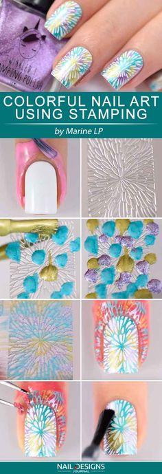 Fun Nail Designs That Are Easy To Do At Home Nail Stamping stamping nail art avec quel vernis Colorful Nail Art, Trendy Nail Art, Nail Art Diy, Easy Nail Art, Cool Nail Art, Diy Nails, Cute Nails, Nail Nail, Nail Polish