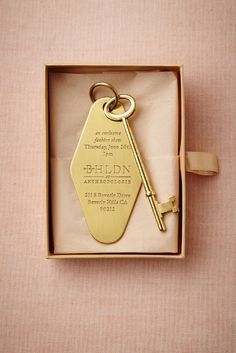 amazing invitation to a BHLDN event. I would love to do this with a lock shaped invite and a key RSVP :) so cute!