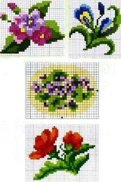 miniature needlework charts Mini Cross Stitch, Cross Stitch Cards, Beaded Cross Stitch, Cross Stitch Flowers, Cross Stitching, Cross Stitch Embroidery, Embroidery Patterns, Knitting Patterns, Cross Stitch Designs