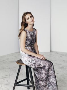 Image pic: Long, floral dress, SS15  Model: Beate Bille