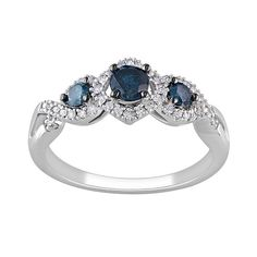 Stella Grace Round-Cut Blue & White Diamond Engagement Ring in White Gold ct. Gold 1, White Gold Diamonds, Colored Diamonds, 3 Stone Engagement Rings, 3 Stone Rings, Thing 1, Stylish Jewelry, Ring Designs, Bling