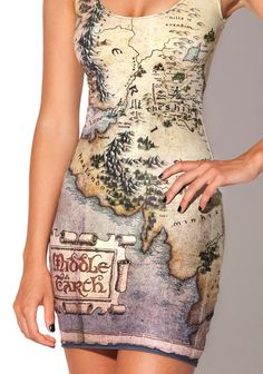 Map of Middle Earth Dress | 35 Clever Gifts Any Book-Lover Will Want To Keep For Themselves I'm afraid that my map would have all the mountainous areas in the wrong places and would no longer be to scale.