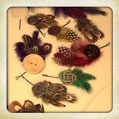 How to make cute boho button feather hair pins. super cute!