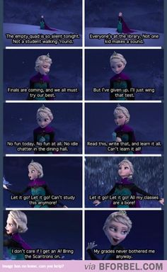 """haha, college parody on """"Let it Go"""" Funny Shit, The Funny, Hilarious, Funny Stuff, Funny Things, Random Stuff, Frozen Parody, Frozen Funny, Film Frozen"""