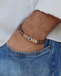 NEW Beaded Bracelet  Brown Wood beads Stretch Handmade Surfer Style Men's Woman #Handmade #Beaded