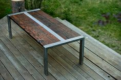Idea of coffee table design    Industrial Zeeva Coffee Table Reclaimed Redwood and Steel. $1,295.00, via Etsy.