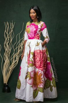 Laura Maxi dress with pockets African dress Long African