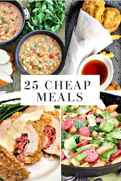 Collection of quick and easy dinner ideas including no-cook and pantry meals. #quickandeasydinnerideas #pantrymeals #cheapmeals #cheaprecipes