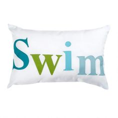 "One of my favorite discoveries at ChristmasTreeShops.com: ""Swim"" Indoor/Outdoor Oblong Throw Pillow"