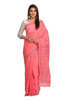 Ada Hand Embroidered Carrot Pink Cotton Lucknow Chikan Saree with Blouse - A192238 Price Rs.2,190.00 #Ada_Chikan chikan saree designs #chicken saree #red chikan saree #ada chikan saree #online chikan store #lucknow saree #chikankari saree online #lakhnavi work sarees #ada chikankari sarees #chikankari designer wear #lucknow chikankari sarees #for women