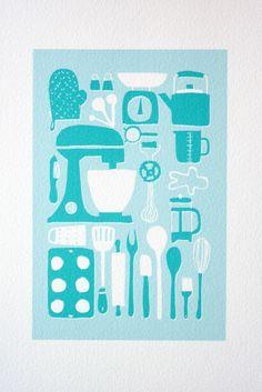 illustration, mint, blue, baking, cooking, design, food, kitchen, texture