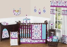 Purple Turquoise and White Flower Garden Butterfly Girl Baby Bedding 9P Crib Set | eBay