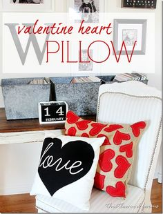 valentine-heart-pillow - burlap pillow and red burlap hearts DIY Valentine Decor Valentines Day Decorations, Valentine Day Crafts, Valentine Heart, Valentine Pillow, Burlap Pillows, Sewing Pillows, Decorative Pillows, Food Pillows, Decorative Accents
