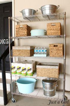 Garage Laundry, Garage Shelf, Garage Storage, Storage Shelves, Kitchen Storage, Diy Garage, Bathroom Storage, Bathroom Ideas, Storage Baskets