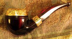 Superb Antique Vintage Solid Red Cherry Amber Bakelite Gold Estate Pipe | eBay