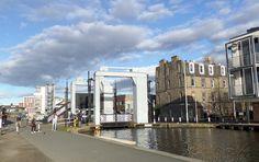 Leamington Lift Bridge · is a lift bridge that crosses the Union Canal near its terminus at Lochrin Basin in Edinburgh Edinburgh Sights, England Ireland, Crosses, Basin, Wales, Scotland, Bridge, Street View, Bro