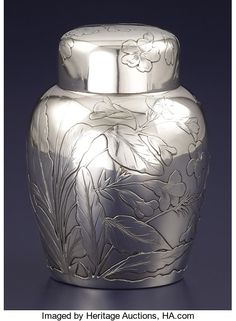 Tea Caddy, Antique Silver, Tea Pots, Auction, Bronze, Decorations, Sterling Silver, American, Antiques