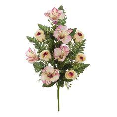 Ramos Todos los Santos. Ramo de cementerio con flores artificiales. Compuesto de alstroemerias y rosas rosadas con hojas relleno. Ramas alambradas. Alto 42 cms.