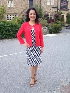 @.GMB from Emmerdale @Lauratobin1 wears @zaraclothes jacket @Bodenclothing dress! #styledbydeb