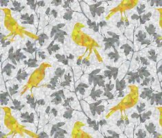 ivy_with_bird fabric by kimkim on Spoonflower - custom fabric All The Small Things, Chair Fabric, Curtain Fabric, Fabric Birds, Pointillism, Surface Design, Custom Fabric, Spoonflower, Print Patterns