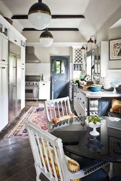 blue door, cabinets & floor