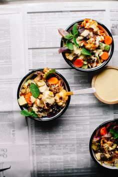 Moroccan Harissa Salad with cauliflower, carrots, red onion and an orange tahini dressing from Bowls of Goodness Cookbook