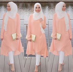 Peach summer spring fall hijab