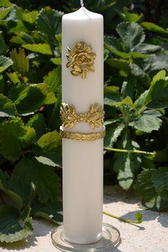 Lumanare cu aplicatii din ceara pictate 6 cm x 35 cm Pillar Candles, Wedding, Valentines Day Weddings, Weddings, Marriage, Candles, Chartreuse Wedding