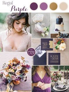 Regal Purple Gold And Champagne Wedding Palette