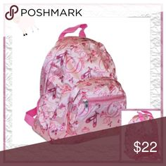 """Ballerina Print Kids Backpack Perfectly sized for a toddler or pre-school aged child, microfiber constructed is custom made to endure the rough action of little ones. Features 2 external zippered pockets, internal hanging hook for lockers and adjustable shoulder straps. Machine washable L 11"""" x W 9"""" x D 3.5 Boutique Accessories Bags"""