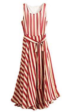 Red & White Striped Sleeveless Belted Chiffon Dress