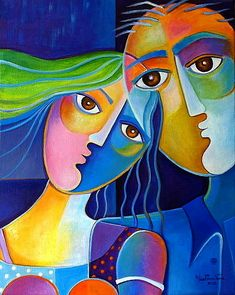 Original Acrylic Painting COUPLE 9 Modern Abstract by MarlinaVera, $250.00