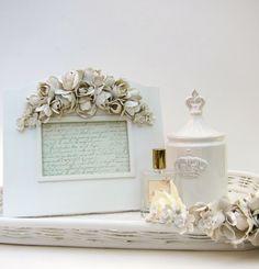 "Shabby Chic White Cottage Rose Picture Frame 4x6"". $30.00, via Etsy."