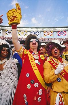 A group of Washington Redskins fans known as the Hogettes cheer their team on in Super Bowl XXII. The Redskins beat the Denver Broncos 42-10.