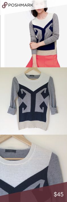"""J. Crew intarsia pullover wool sweater J. Crew intarsia pullover wool sweater in grey, beige, black and ivory. Excellent used condition. Size tag missing but it is M. Flat measurements: underarms: 18"""", length:24"""". Sold out fast in the season. From pet free and smoke free home. J. Crew Sweaters Crew & Scoop Necks"""